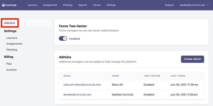 MYCA Admin Profile