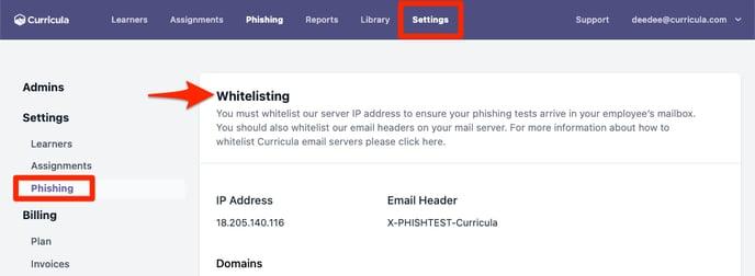 MYCA Settings Phishing